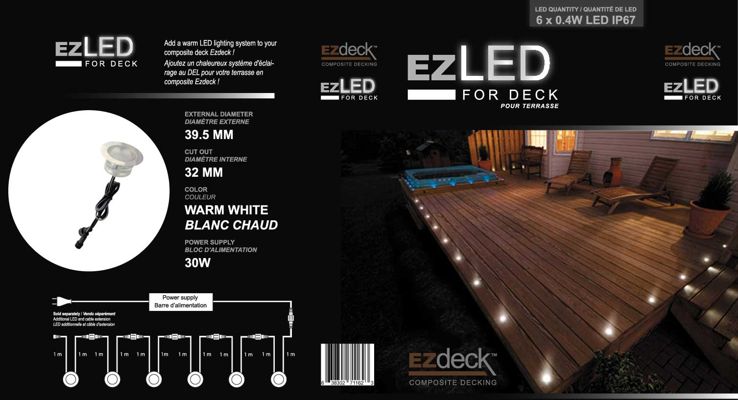 ezled led unitaire pour terrasses en composite gsq. Black Bedroom Furniture Sets. Home Design Ideas